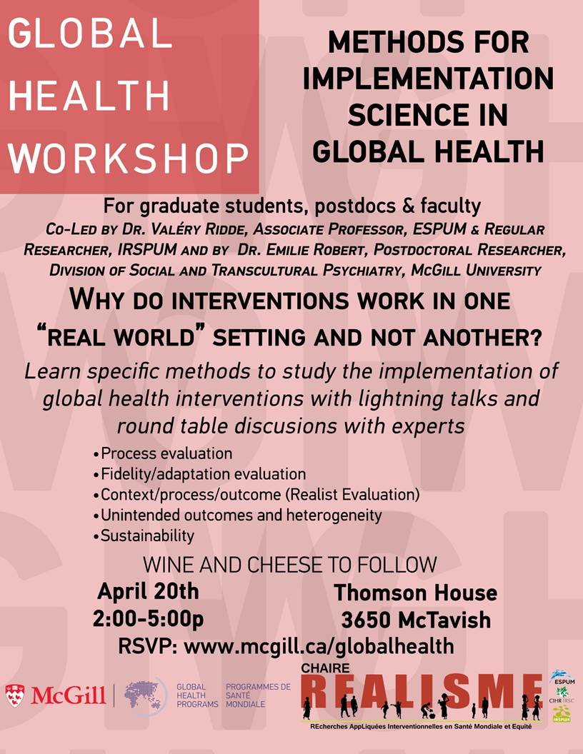 Global Health Workshop Methods For Implementation Science in Global Health