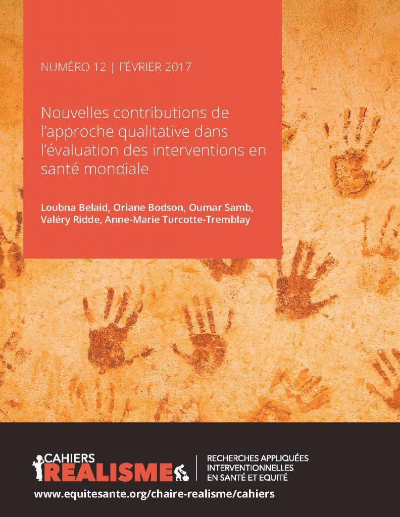 Couverture du cahiers realisme numéro 12: Nouvelles contributions de l'approche qualitative dans l'évaluation des interventions en santé mondiale