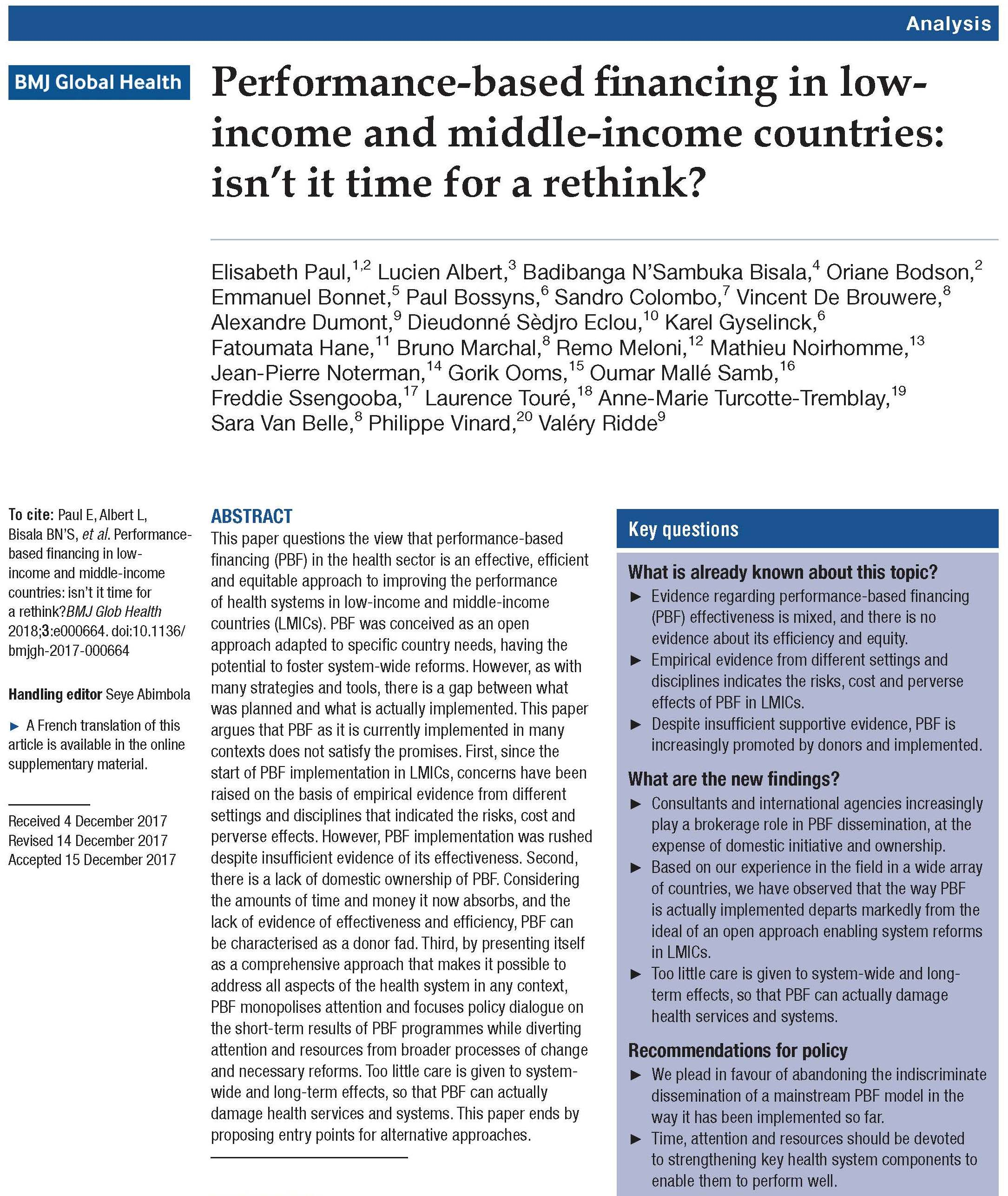 Performance-based financing in low-income and middle-income countries: isn't it time for a rethink?